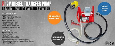 NEW 12 VOLT ELECTRIC DIESEL, BIO FUEL TRANSFER PUMP WITH