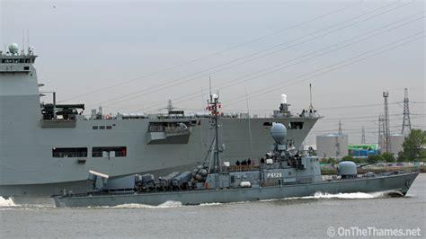 fast boat in london hms ocean departs london on the thames