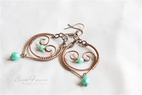 Copper Wire Wrapped Earrings And Turquoise Glass