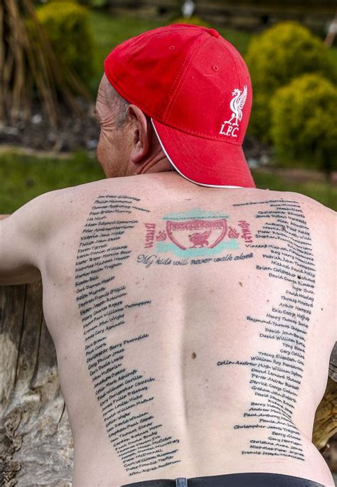tattoo prices uk liverpool liverpool fan jason edwards has names of all 96