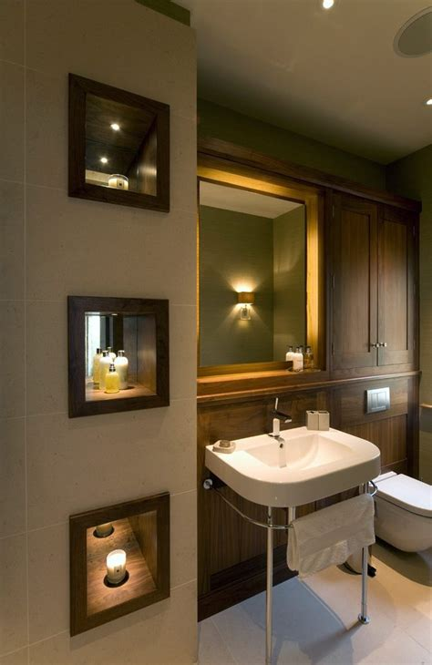 wall enclave bathroom transitional with niche with wood
