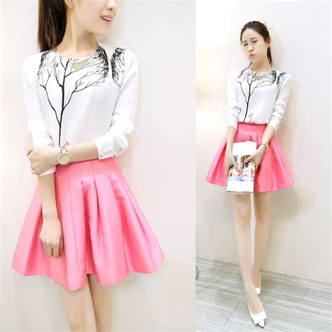 Korean Vest Dress One Set 2017 autumn clothing set korean fashion swan tree