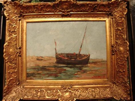 antique paintings for sale antique painting of boat signed albert douget