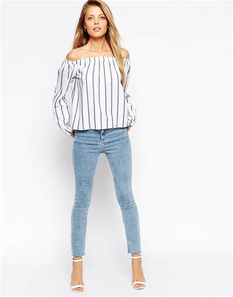 lyst asos woven the shoulder top in stripe in blue
