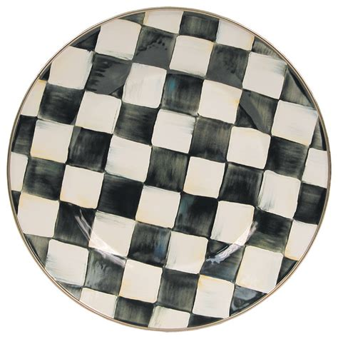 Black And White Checkered Kitchen Ware by Courtly Check Enamel Dinner Plate Mackenzie Childs