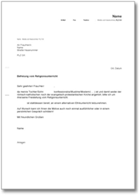 Musterbrief Zur Abmeldung Der Gez Gebührenpflicht Befreiung Vom Religionsunterricht In Der Schule Ch Musterbrief