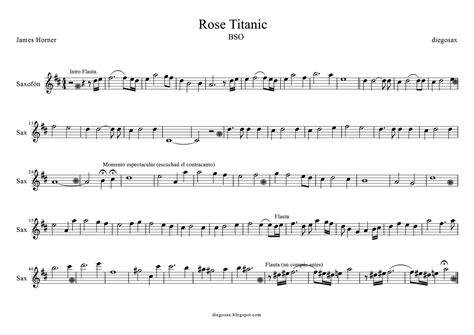 rose theme music diegosax titanic de james horner partitura de flauta