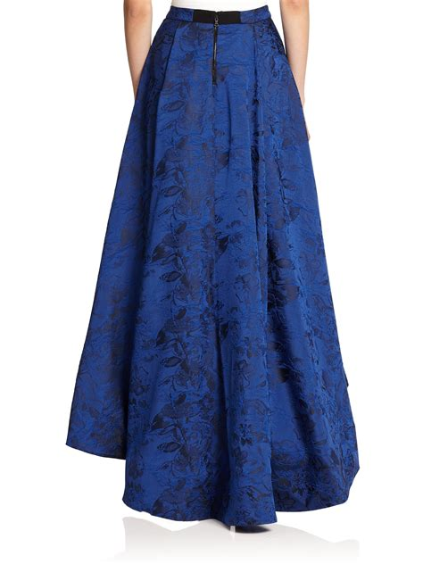 choe floral print maxi skirt in blue lyst
