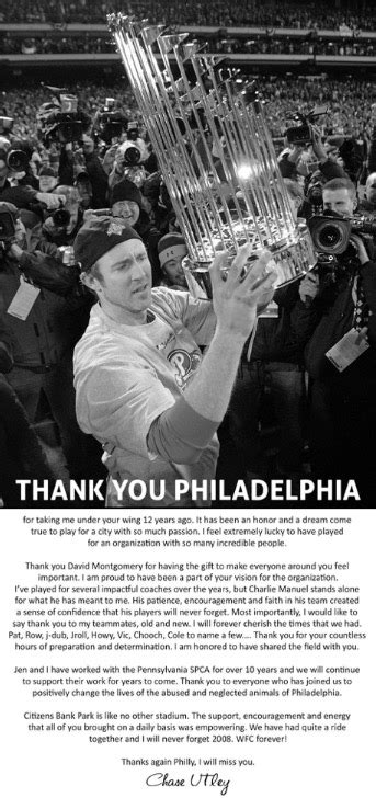 Thanks Philadelphia Inquirer by Utley Thanks Fans In Philadelphia Newspaper Ad Fox