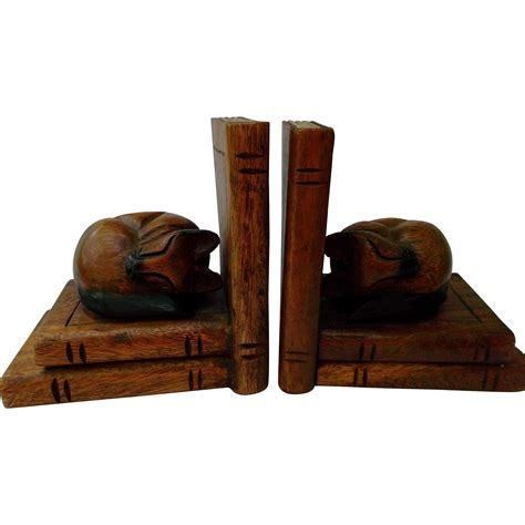 woods vintage home interiors carved wood cat bookends vintage home decor from