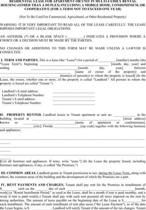 free apartment lease template apartment lease templates for free formtemplate
