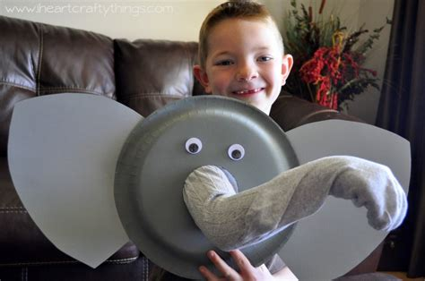 How To Make A Paper Plate Puppet - paper plate elephant puppet tutorial i crafty things