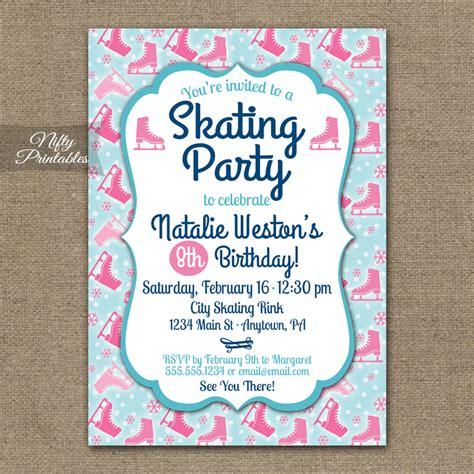 free printable birthday invitations ice skating ice skating invitations nifty printables