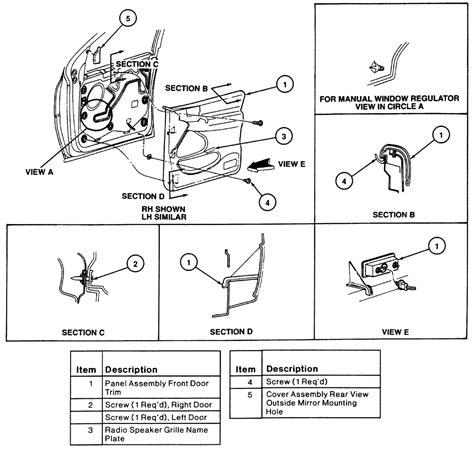 service manual how to remove door trimford 1993 repair guides interior door panels autozone com