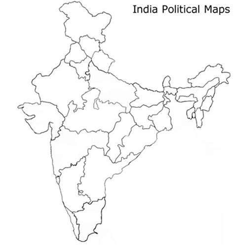 India Political Map Outline With States by Questionpaper