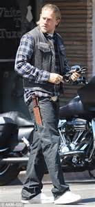 hunnam on set sons of anarchy set in leathers as