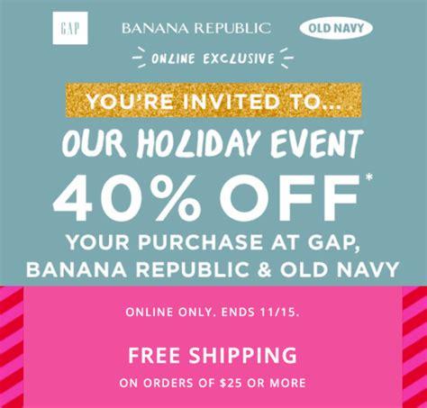 free shipping at banana republic the gap old navy gap banana republic old navy canada holiday event promo