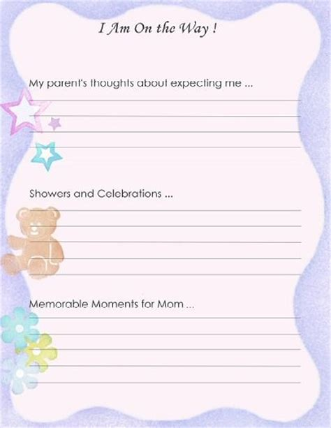 baby shower memory template free printable baby book page quot i am on the way quot scrapbooking baby books baby