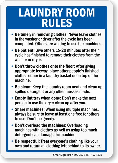 Laundry Room Etiquette Signs laundry room sign sku s2 1275