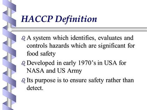 haccp d馭inition cuisine hazard analysis and critical points ppt