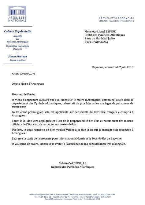 Modèle Courrier Préfet ma lettre au pr 233 fet au sujet du maire d arcangues