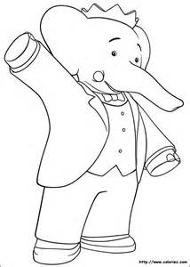 coloriage bonjour babar