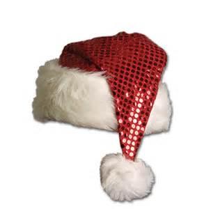 Red metallic santa hat peeks