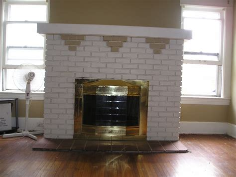 Brick Fireplace by 1914 Foursquare Brick Fireplace Restoration