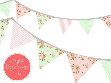 Bunting Flag Diy Banner Baby Shower Banner Bridal Shower Banner Req pink mint shabby chic banner magical printable