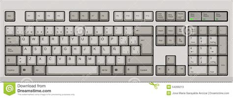 qwerty keyboard layout printable spanish qwerty sp layout keyboard grey stock vector