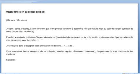 Exemple De Lettre Pour Quitter Travail Lettre De D 233 Mission Du Conseil Syndical