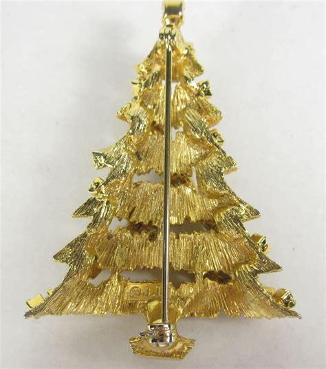 vintage christmas tree pin green red rhinestone garland