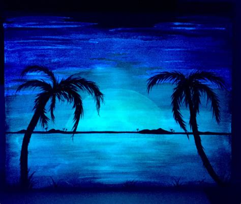 glow in the painting tree palm tree glow in the landscape 2 in 1 acrylic