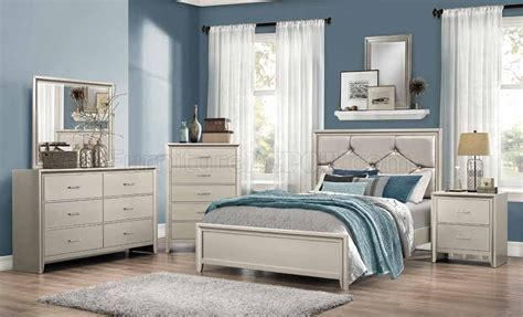 traditional 5pc bedroom set w options lana 205181 bedroom 5pc set in silver tone by coaster w