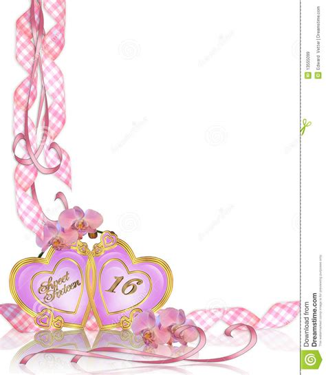 sweet 16 birthday invitation border royalty free stock