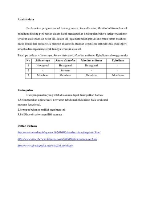 cara membuat laporan praktikum biologi sel laporan biologi