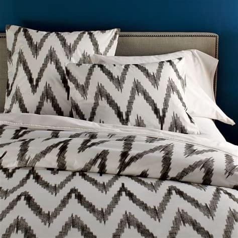 gray and white chevron bedding organic chevron duvet cover slate west elm