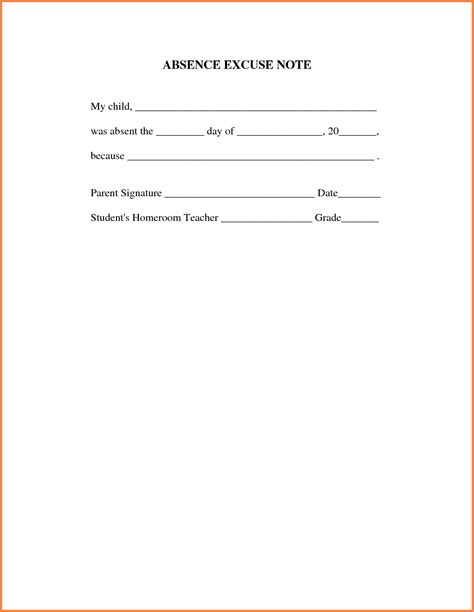 absent notes for school templates doctors note for work absence sales report template