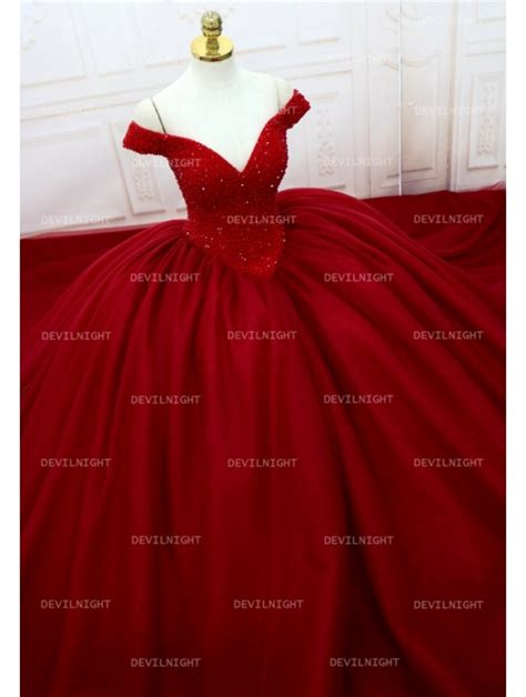 red beading   shoulder ball gown gothic wedding