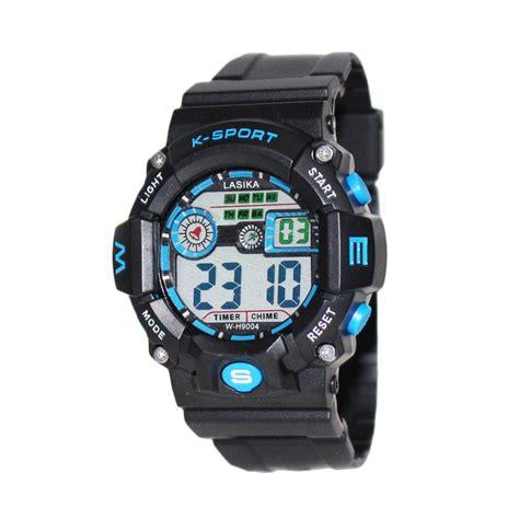 Jam Tangan Rubber Hitam Biru jual lasika w h9094 jam tangan sporty water resistant