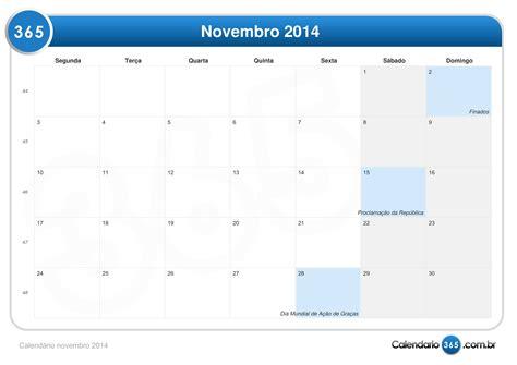 I Calendario Novembro 2014 Calend 225 Novembro 2014