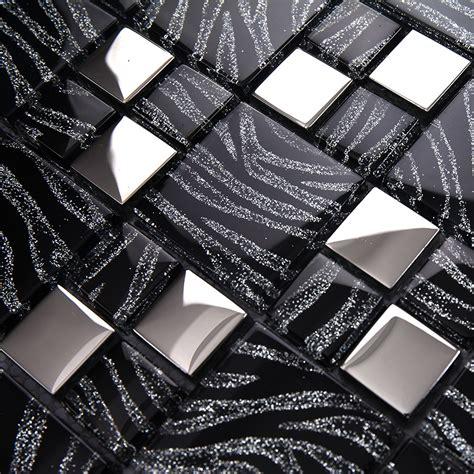 Kitchen Tile Murals Tile Art Backsplashes tst crystal glass tiles black and white mosaic glass tiles