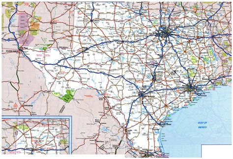 highway map of texas large roads and highways map of texas state with national parks and cities vidiani maps