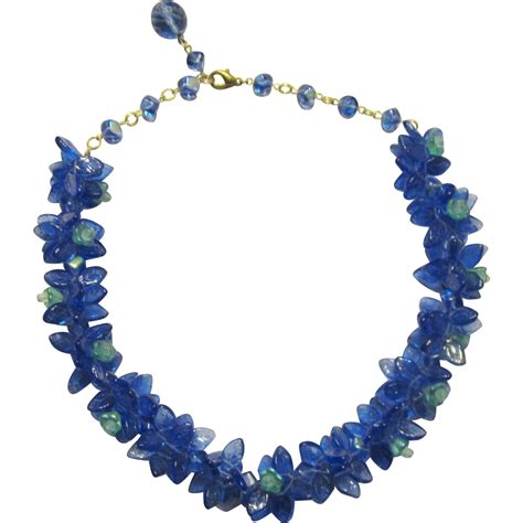 turquoise blue glass ls cobalt blue turquoise glass beaded necklace from
