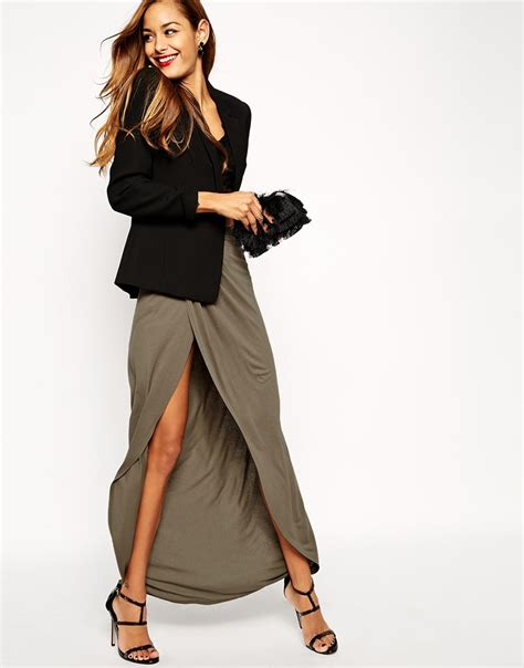 asos wrap maxi skirt in jersey into it