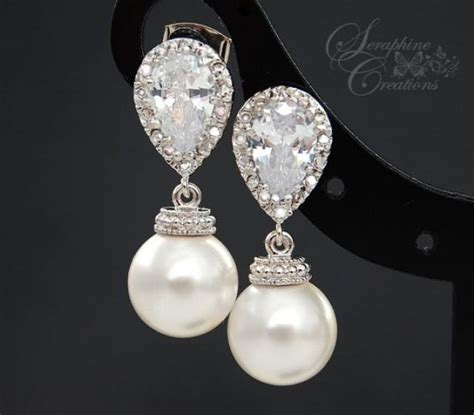 Ohrringe Perlen Hochzeit by Bridal Pearl Earrings Wedding Jewelry Swarovski Pearls