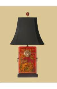 Hand Painted Japanese Vase East Enterprises Box Oriental Leather Table Lamp With Red