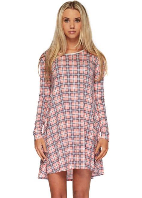 long sleeve tartan swing dress pink tartan mini swing dress cheap pink mini