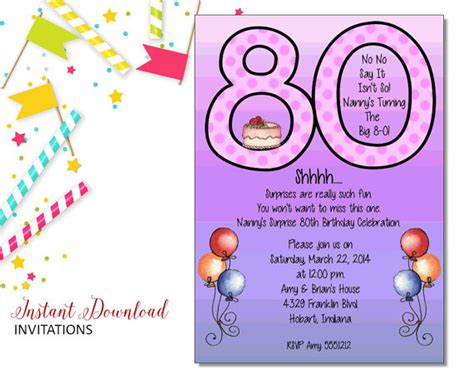 printable birthday invitation cards for adults purple 80th invitation adult birthday printable