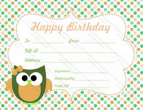 birthday gift card templates free birthday gift certificate template